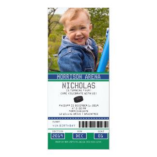 Grüner und blauer Hockey-Karten-Geburtstag 10,2 X 23,5 Cm Einladungskarte