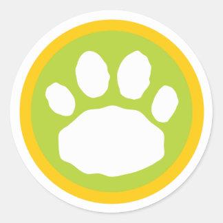 Grüner und gelber Tatzen-Druck Runder Aufkleber
