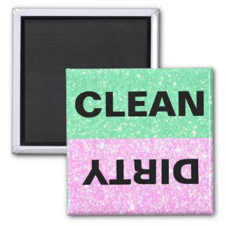 Grüner und rosa Glitter Sauber-Schmutzig Quadratischer Magnet