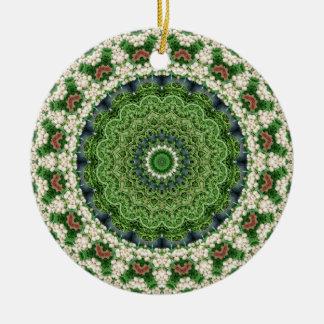 Grüner und weißer Bauers-MarktMandala Rundes Keramik Ornament