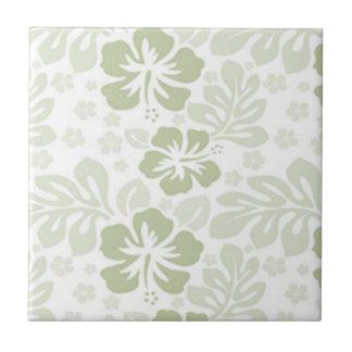 Grüner und weißer Hibiskus Kleine Quadratische Fliese