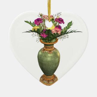 Grüner Vase und Blumengesteck Keramik Herz-Ornament