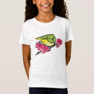 Grüner Vogel mit rosa Blumen-T-Shirt T-Shirt