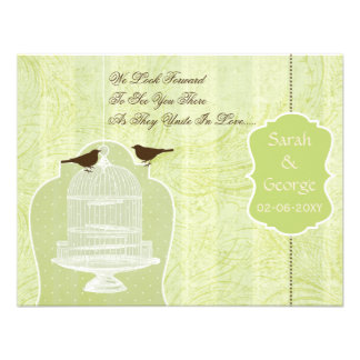 Grüner Vogelkäfig des Chic, Liebevögel UAWG Individuelle Einladung