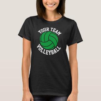 Grüner Volleyball-die schwarze T der T-Shirt