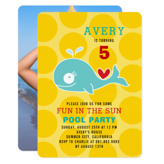 Grüner Wal-Pool-Party-Mädchen-Foto-Geburtstag Karte