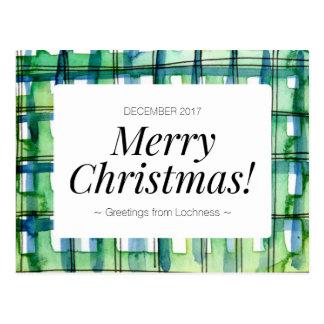 Grüner Watercolor-karierte frohe Weihnachten Postkarte