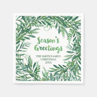 Grüner Watercolor-tropische Papierservietten