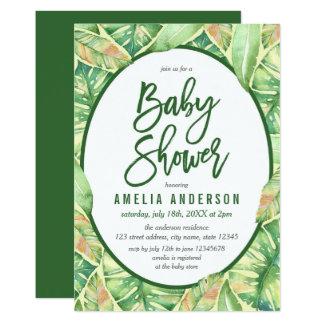 Grüner Watercolor verlässt tropische Baby-Dusche 12,7 X 17,8 Cm Einladungskarte