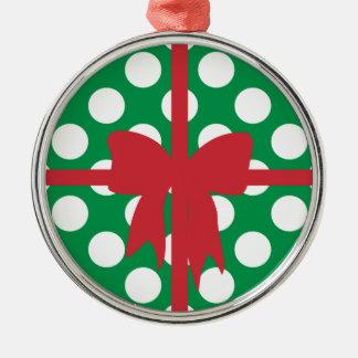Grüner weißer Punkt-Kasten Rundes Silberfarbenes Ornament