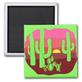 Grüner Wüsten-Schädel-Kaktus-Neonsonnenuntergang Quadratischer Magnet
