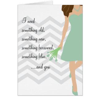 Grüner Zickzack Wille sind Sie meine Brautjungfer Grußkarte