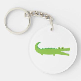 Grünes Alligatoracryl Keychain Einseitiger Runder Acryl Schlüsselanhänger