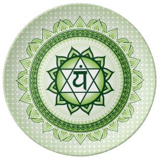 Grünes Anahata, 4. Chakra grüne Platte Teller Aus Porzellan