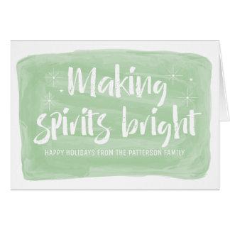 Grünes Aquarell, das Geist hellen Feiertag macht Karte