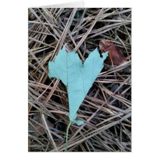 Grünes Blatt-Herz Karte
