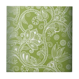 grünes Blumen Kleine Quadratische Fliese