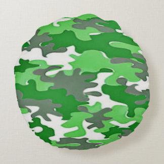 Grünes Camoflauge Rundes Kissen