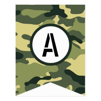 Grünes Camouflage-Fahnen-Stück IRGENDEIN BUCHSTABE Postkarte