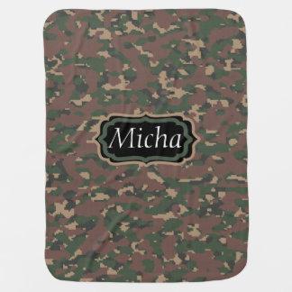 Grünes Camouflage-Gewohnheits-Monogramm TANs Brown Kinderwagendecke