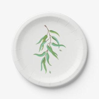 Grünes Eukalyptus-botanisches Blätter-rustikale Pappteller