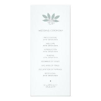 Grünes foilage Hochzeitsprogramm Karte