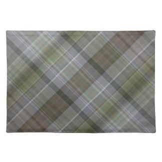 Grünes graues braunes kariertes Muster Tischset