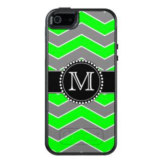 Grünes, graues, schwarzes Zickzack, mit Monogramm OtterBox iPhone 5/5s/SE Hülle