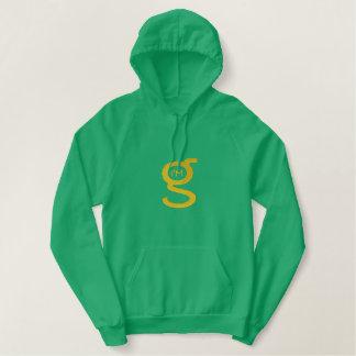 Grünes großes Logo Pulloverhoodie-w Bestickter Hoodie