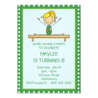 Grünes Gymnastik-Geburtstags-Party 12,7 X 17,8 Cm Einladungskarte