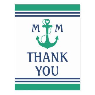 Grünes Herz-Anker-Monogramm danken Ihnen Postkarte