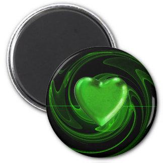Grünes Herz auf Spirale Runder Magnet 5,1 Cm