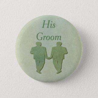 Grünes Homosexuelles seins Bräutigam-Abzeichen - Runder Button 5,1 Cm