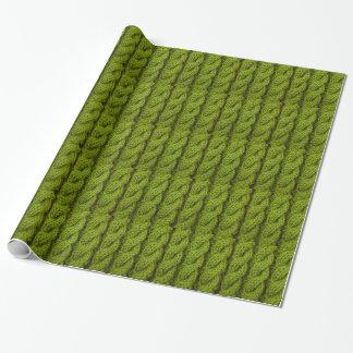 Grünes Kabelstricken Geschenkpapier