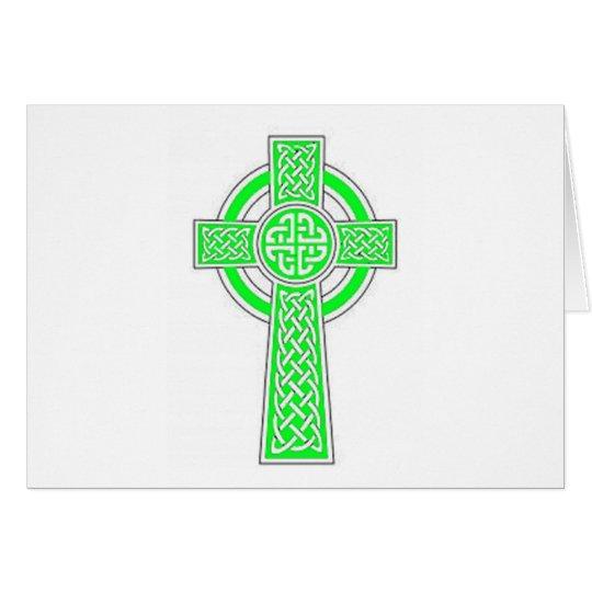Grünes keltisches Kreuz Karte