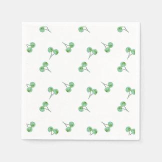Grünes Kirschmuster Papierserviette