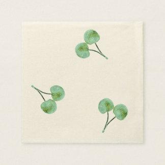 Grünes Kirschmuster Papierservietten
