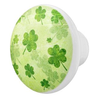 Grünes Kleeblatt-Muster Keramikknauf