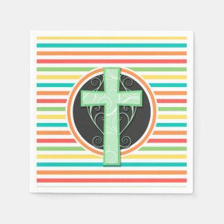 Grünes Kreuz; Helle Regenbogen-Streifen Papierserviette