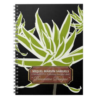 Grünes langes Blätter verzierte modernes Notizbuch Spiral Notizblock