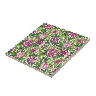 Grünes lila u. beige Retro Blumen-Muster Kleine Quadratische Fliese