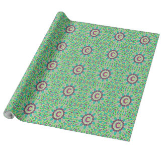 Grünes magentarotes Mandala-Packpapier des Geschenkpapier