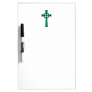 Grünes metallisches keltisches Kreuz Memoboard