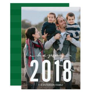 Grünes modernes glückliches Feiertags-Foto des 12,7 X 17,8 Cm Einladungskarte