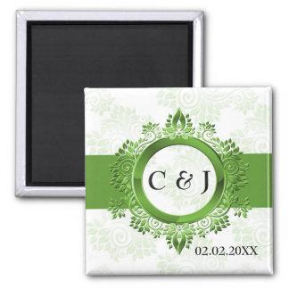 grünes Monogramm das Save the Date Magneten weddi