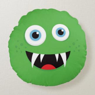 Grünes Monster-Wurfskissen für die Kinder - rund Rundes Kissen