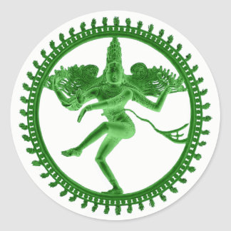 Grünes Nataraja Runder Aufkleber