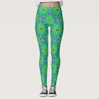 Grünes psychedelisches leggings