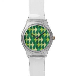 Grünes Rautenmuster Armbanduhr