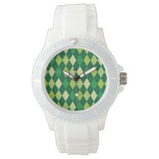 Grünes Rautenmuster Uhr